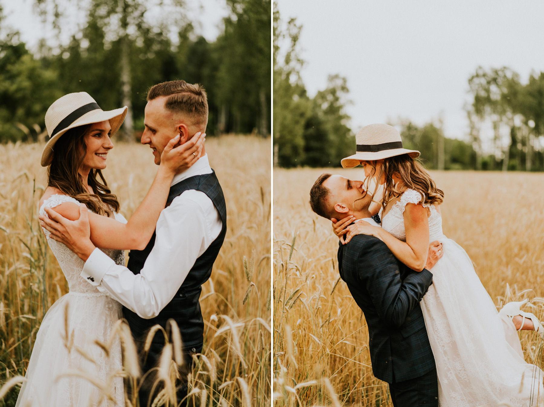 sesja ślubna w zbożu